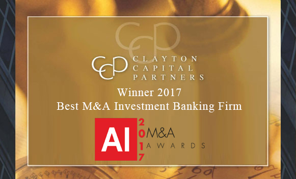 Clayton Capital Partners named 2017 Best M&A Investment Banking Firm by AI